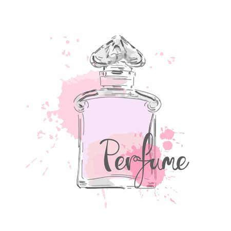 Sketch of beautiful perfume bottle.Vector illustration.