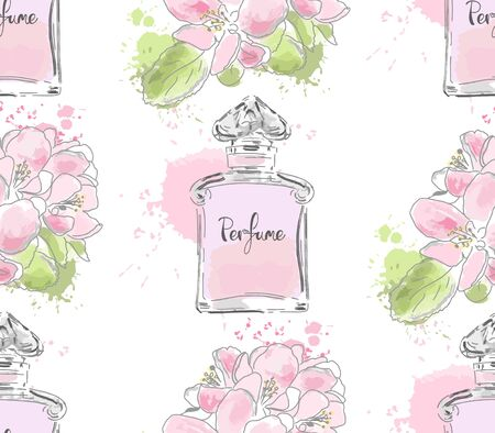 Seamless pattern with beautiful bottles of perfume. Vector watercolor.