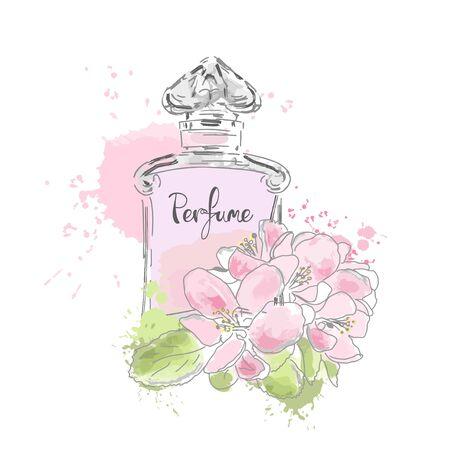 Beautiful perfume bottle. Vector illustration.  イラスト・ベクター素材