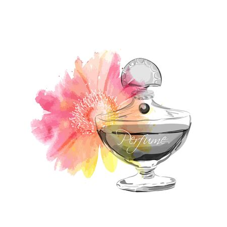 Beautiful perfume bottle. Vector illustration. Illusztráció
