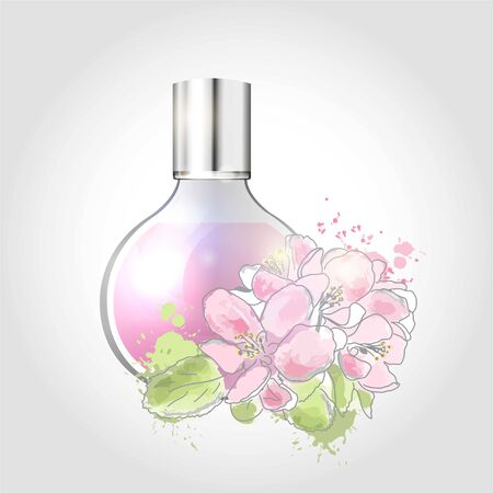 Vector illustration of a realistic style perfume in a glass bottle and flowers.