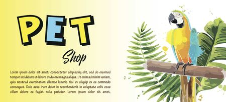 Brochure for pet shop. Poster, banner, flyer design. Illustration
