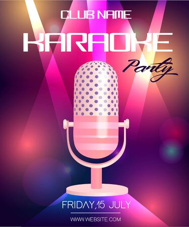 Karaoke party invitation poster design template. Neon glowing flyer with vintage microphone. Illustration