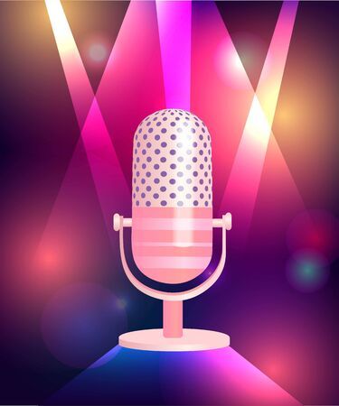 Neon glowing background with vintage microphone. Vettoriali