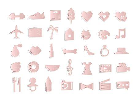 Cute fashion rose gold icon set. Illustration