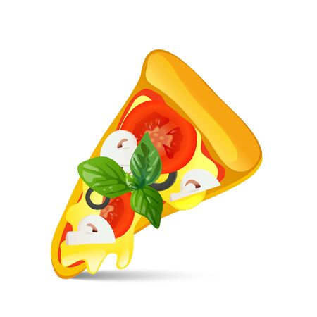 Slice of pizza isolated on white background.