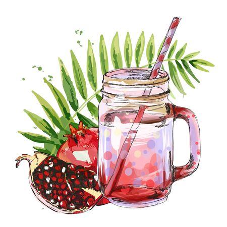 Smoothie jar with pomegranate and tropical leaf.