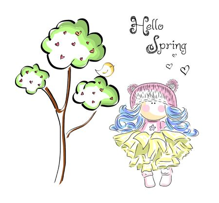 Cute girl under tree with bird. Hello spring illustration.