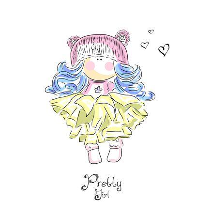 Cute girl illustration  イラスト・ベクター素材