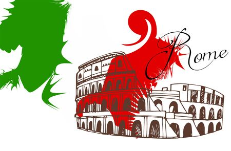 Travel card with Colosseum and Italian Flag. Illusztráció
