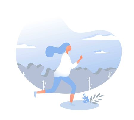 Vector gradient illustration with running girl. Illusztráció