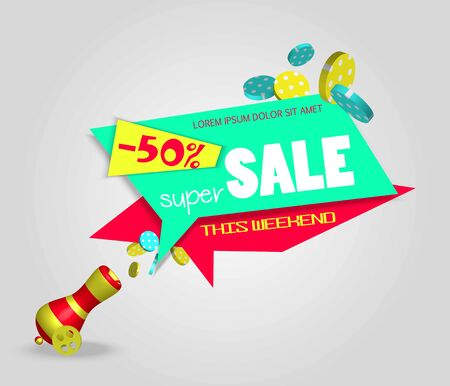 Vector sale 3d banner design.