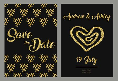 Save the date cards, wedding invitation with hand drawn hearts. Gold and black background. Vector templates. Illusztráció