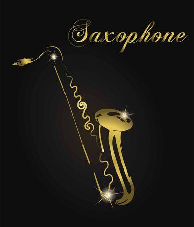 Golden saxophone silhouette. Illustration