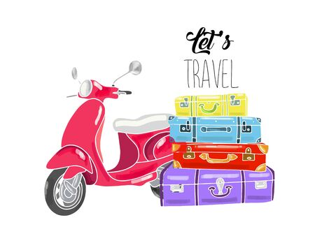 Hand drawn vector illustration - Lets travel. Suitcases and scooter.