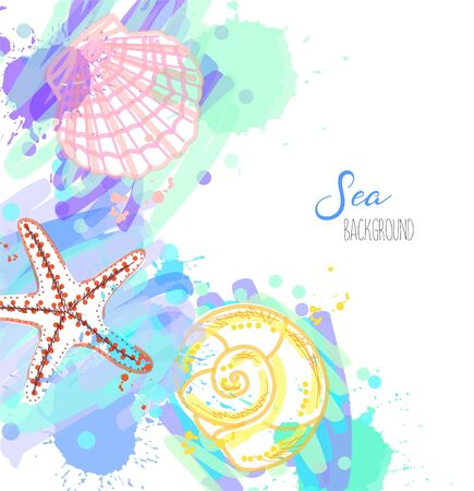 Summer vector design. Hand drawn sea background.