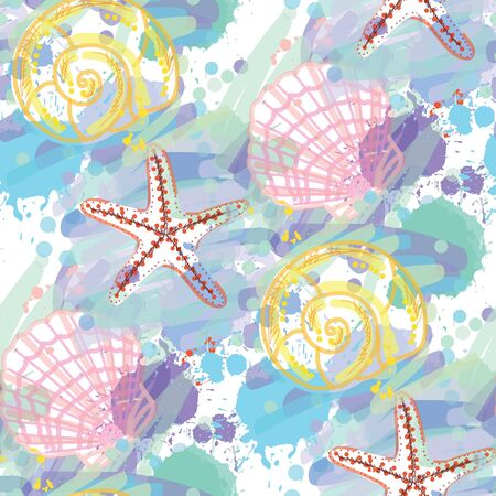 Hand drawn seamless pattern with seashells. Illusztráció