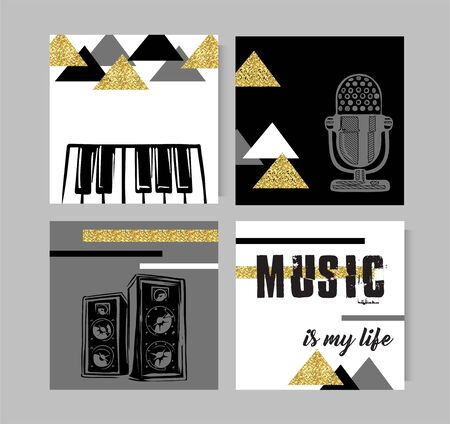 Set of artistic creative music cards. Design for poster, card, invitation, placard, brochure, flyer. Vector templates. Illusztráció