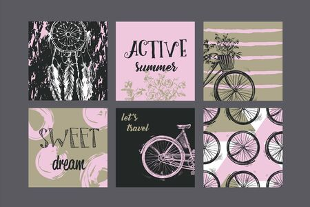 Set of artistic creative vintage cards. Design for poster, card, invitation, placard, brochure, flyer. Vector templates.