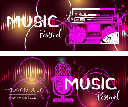 Set of music festival posters.