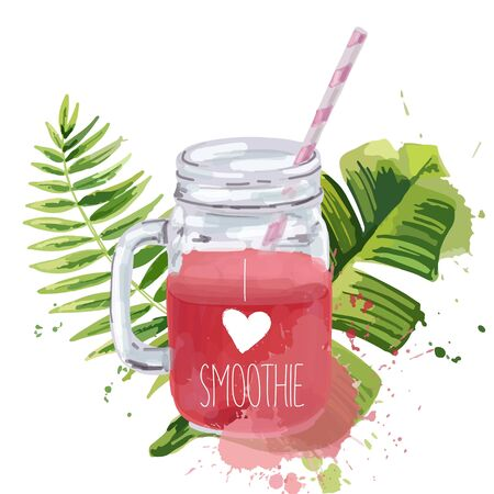 Smoothie jar with tropical leaves.