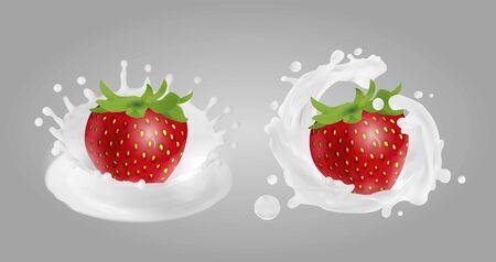 Strawberry in yogurt. Milk splashes.