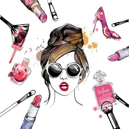 Ilustración de moda y cosméticos con elegante joven en gafas.