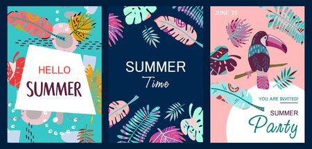 Set of abstract summer cards.