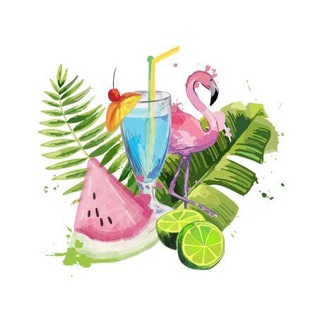 Exotic summer composition.  イラスト・ベクター素材