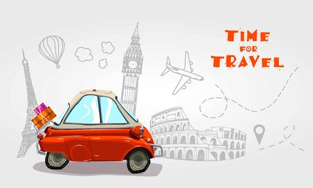 Road trip. Vacation elements. Time for Travel. Cartoon design vector illustration. Ilustrace