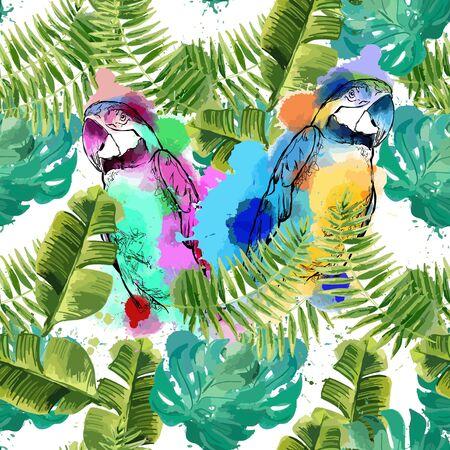 Exotischer Hintergrund mit Papageien und tropischen Blättern.