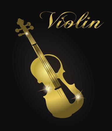 Golden violin silhouette. Vetores