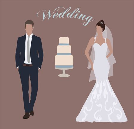 Cute young married couple: fashion beautiful bride and handsome groom in stylish suit. Modern detailed graphic wedding set. Flat style vector 일러스트