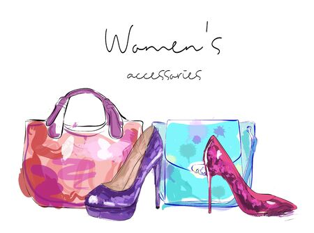 Womens accessories poster. Bags and high heeled ladies shoes.