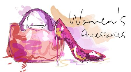 Womens accessories poster. Bag and high heeled ladies shoe.