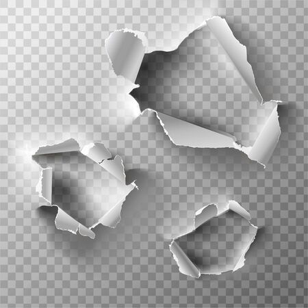 Realistic holes set in paper isolated on transparent backgroun. Vector illustration.