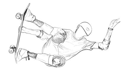 Skateboarder. Vector sketch illustration 向量圖像