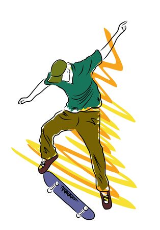 Skateboarder. Vector sketch.