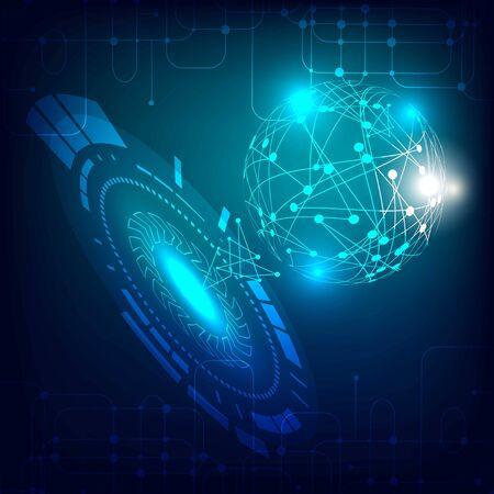 Pantalla de visualización frontal futurista. Conexiones de red digital. Ilustración de vector