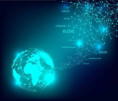 Connexions réseau numérique, arrière-plan technologique.