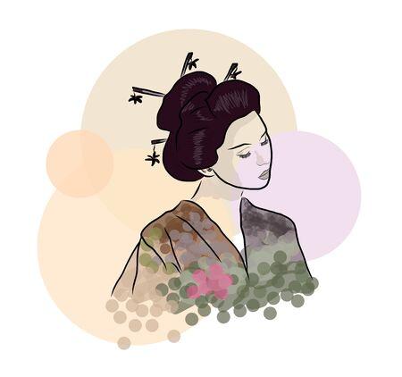 Geisha Beautiful japanese girl illustration Illusztráció