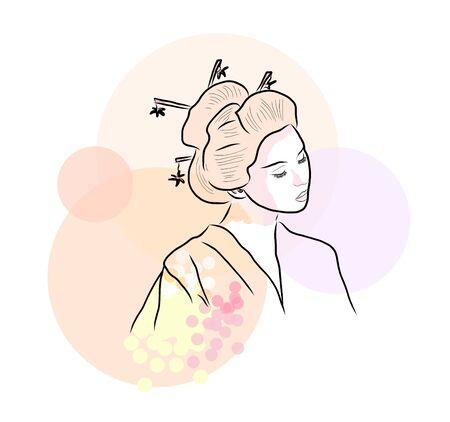 Geisha Beautiful japanese girl. Illusztráció