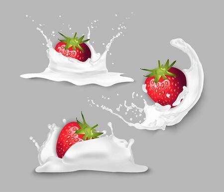 Strawberry in yogurt. Stock fotó - 133530821
