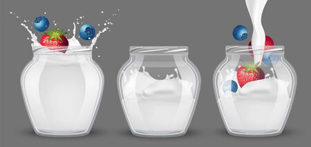 Set of glass jars with yogurt and berries. Illusztráció