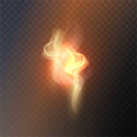isolated transparent effect of realistic flame. Fire illustration, candle light, burning, hot, devouring element, bonfire, twinkle, combustion. torch match Illustration