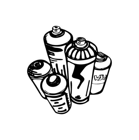 Sketch of the cans for graffiti. Vector illustration. Vettoriali