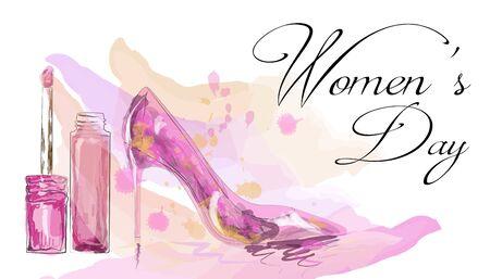 Beautiful high heeled ladies shoe for International Women's Day celebration. Stock Illustratie