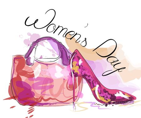 Womens day card. Womens bag and high heeled ladies shoe.