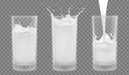 Set of realistic glasses with milk on a transparent background.