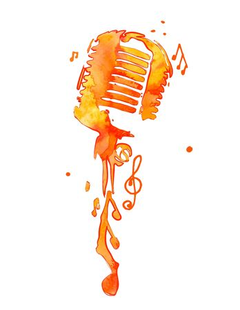 Watercolor microphone with notes. Vector illustration.